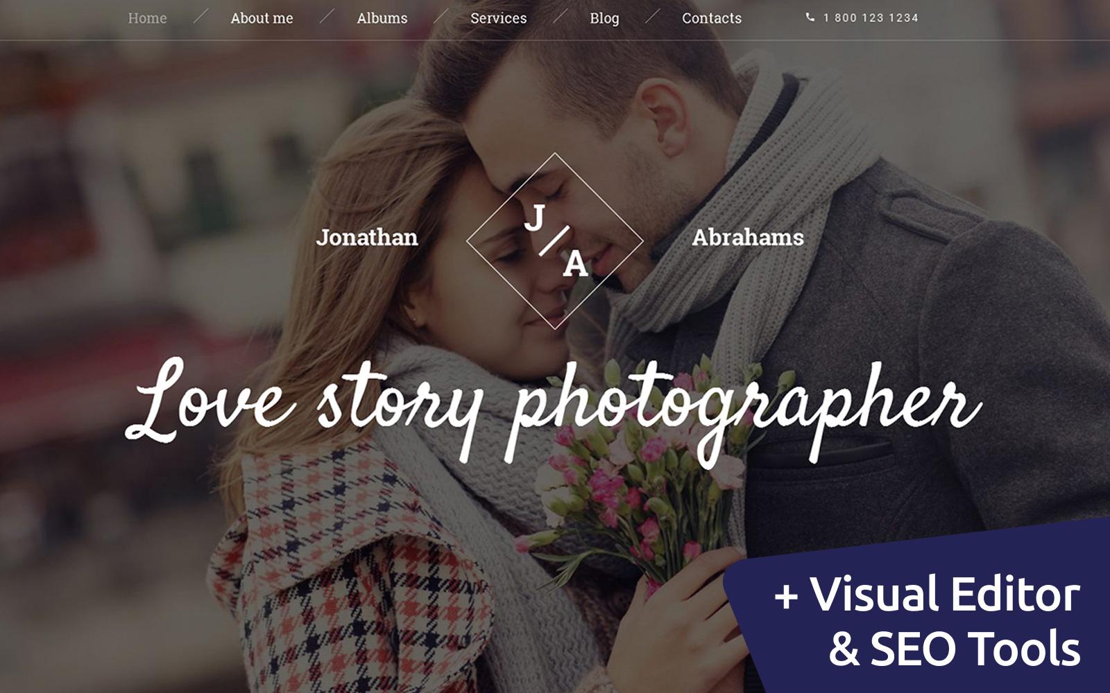 """Responzivní Moto CMS 3 šablona """"Love Story Photographer"""" #59177"""