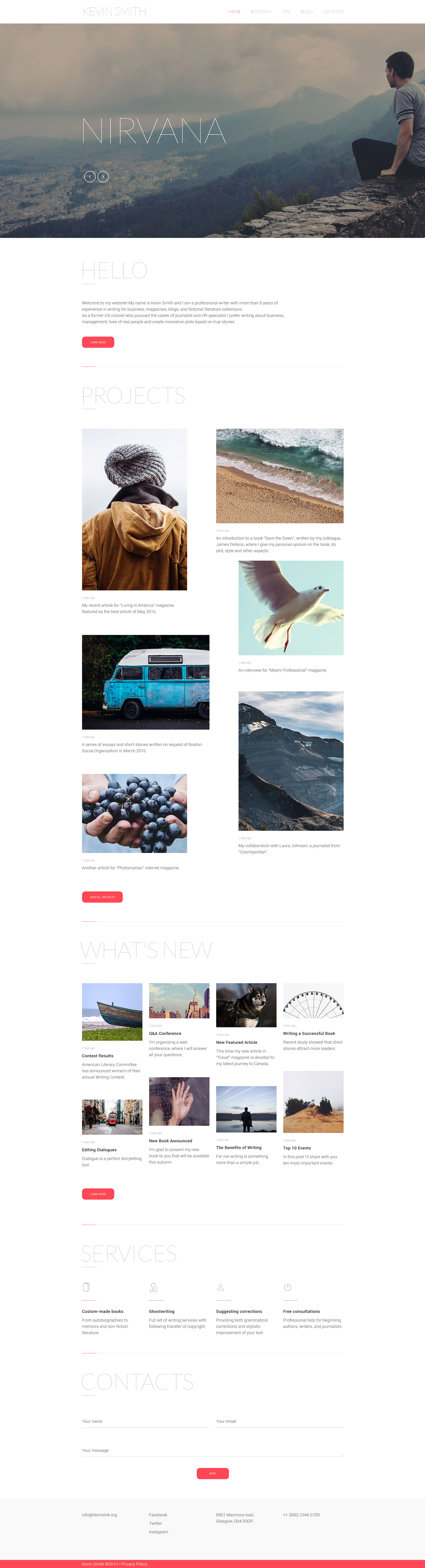Reszponzív Író/Szerző Weboldal sablon 59101 - képernyőkép