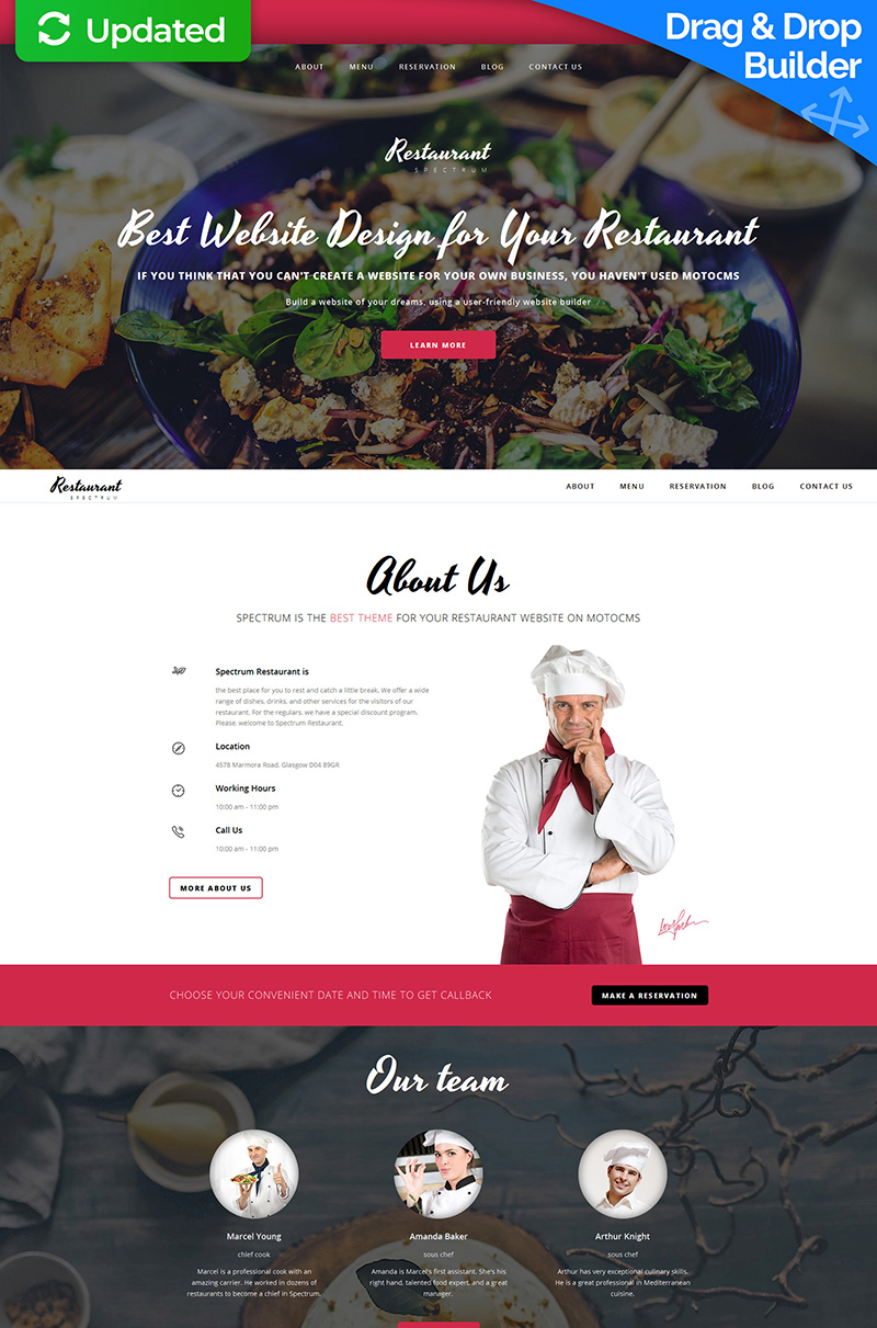 Spectrum Restaurant Templates Moto CMS 3 №59120