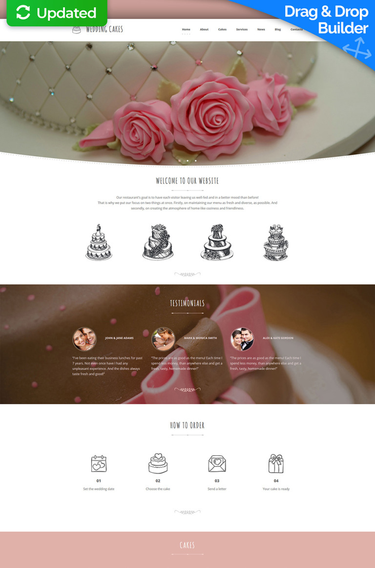 Wedding Cake Responsive Moto CMS 3 Template New Screenshots BIG