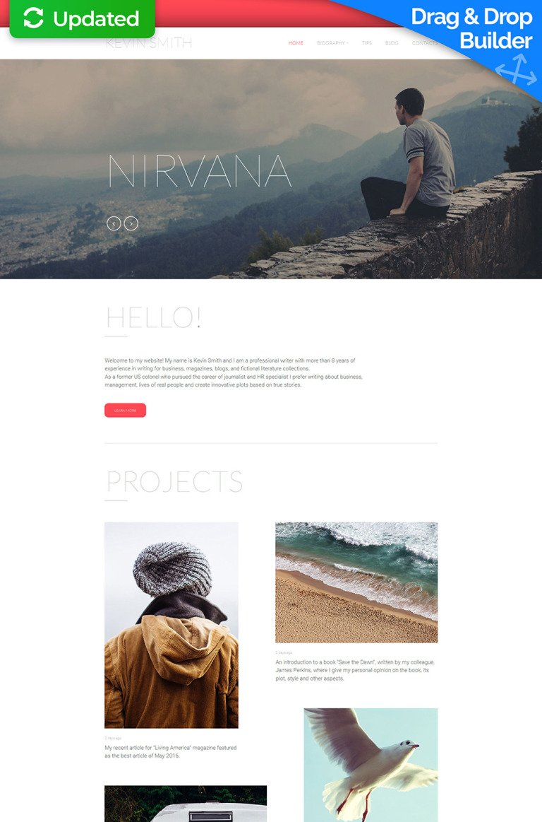 Writer/Author Responsive Moto CMS 3 Template New Screenshots BIG