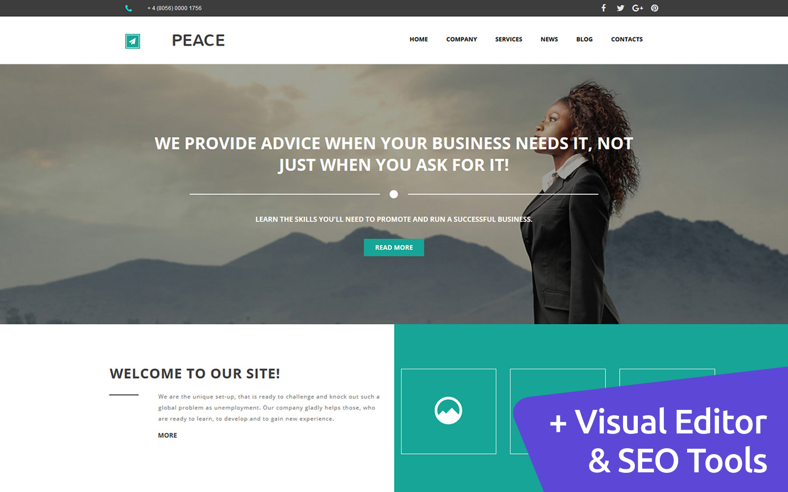 """Business and Consulting"" Responsive Moto CMS 3 Template №59223"