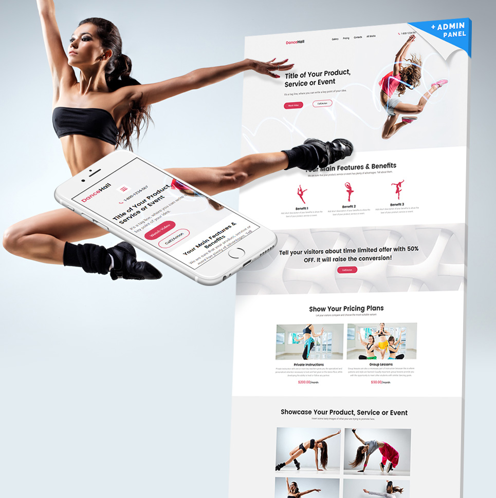 Dance Studio Responsive Landing Page Template 59250