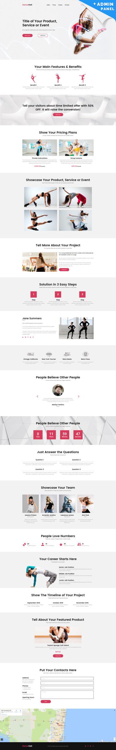 Dance Studio Responsive Açılış Sayfası Şablonu