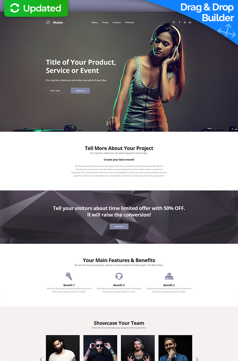 DJ Responsive Landing Page Template