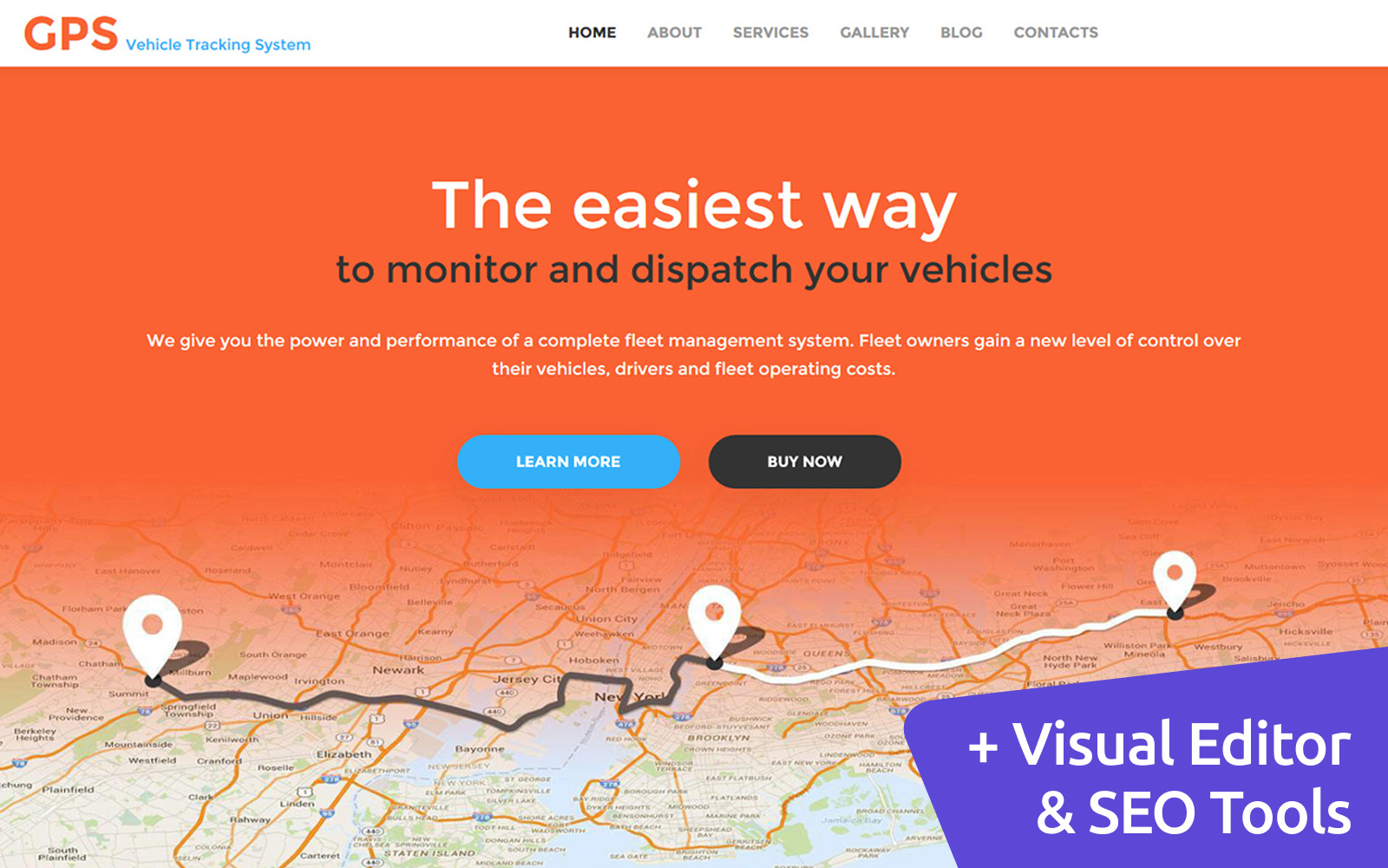 """GPS - Car Tracking"" Responsive Moto CMS 3 Template №59225"
