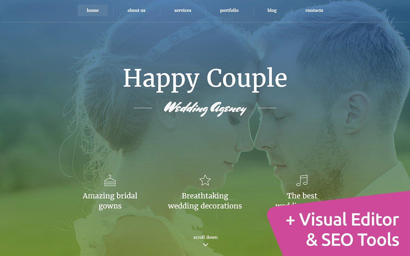 """""""Happy Couple - Wedding Planner"""" modèle Moto CMS 3 adaptatif #59221"""