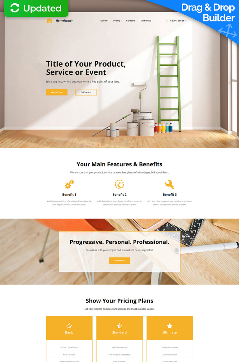 Home Repair MotoCMS 3 Landing Builder New Screenshots BIG