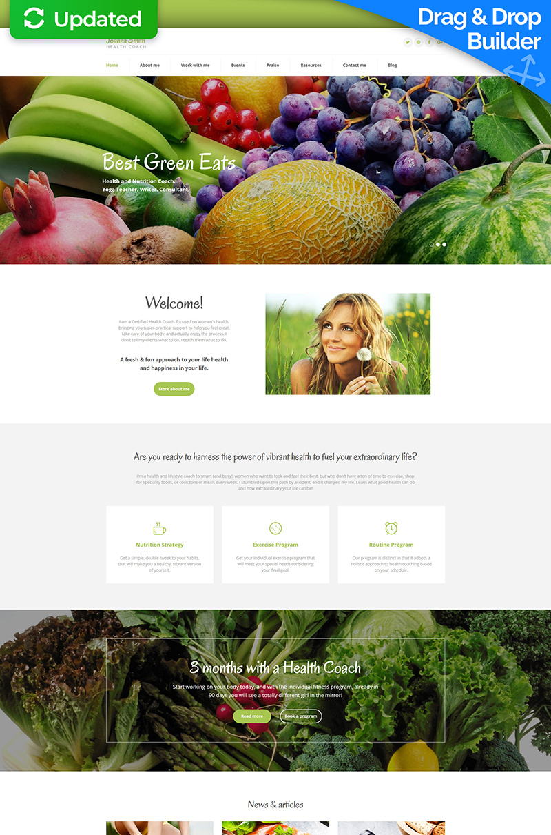 Joanna Smith - Weight Loss Responsive Templates Moto CMS 3 №59286 - captura de tela