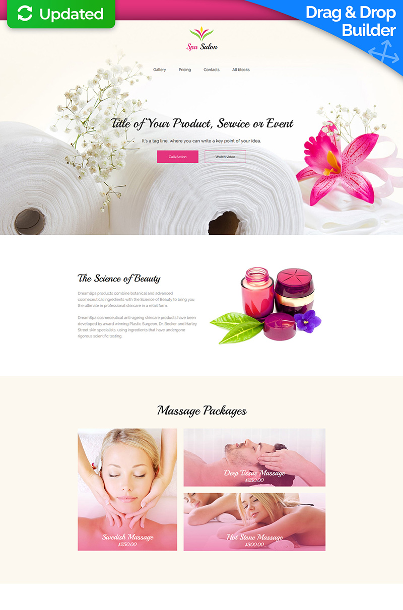 Massage Salon Responsive Landing Page Template