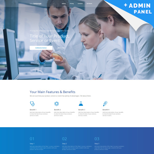Med Interest - MotoCMS Landing Page Template based on Bootstrap