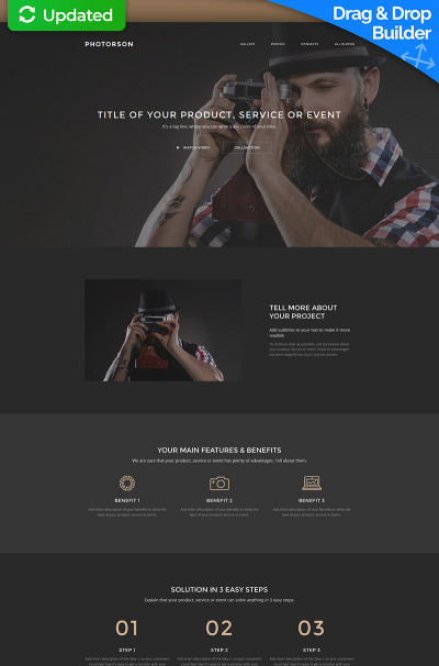 Photorson - конструктор лендинга MotoCMS 3 для портфолио фотографа #59238