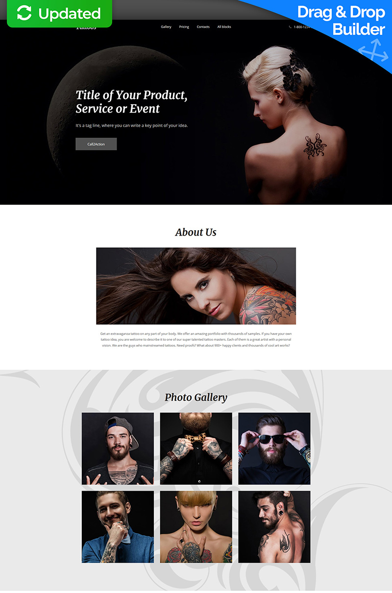 Responsive Landingspagina Template over Tatoeage salon №59253