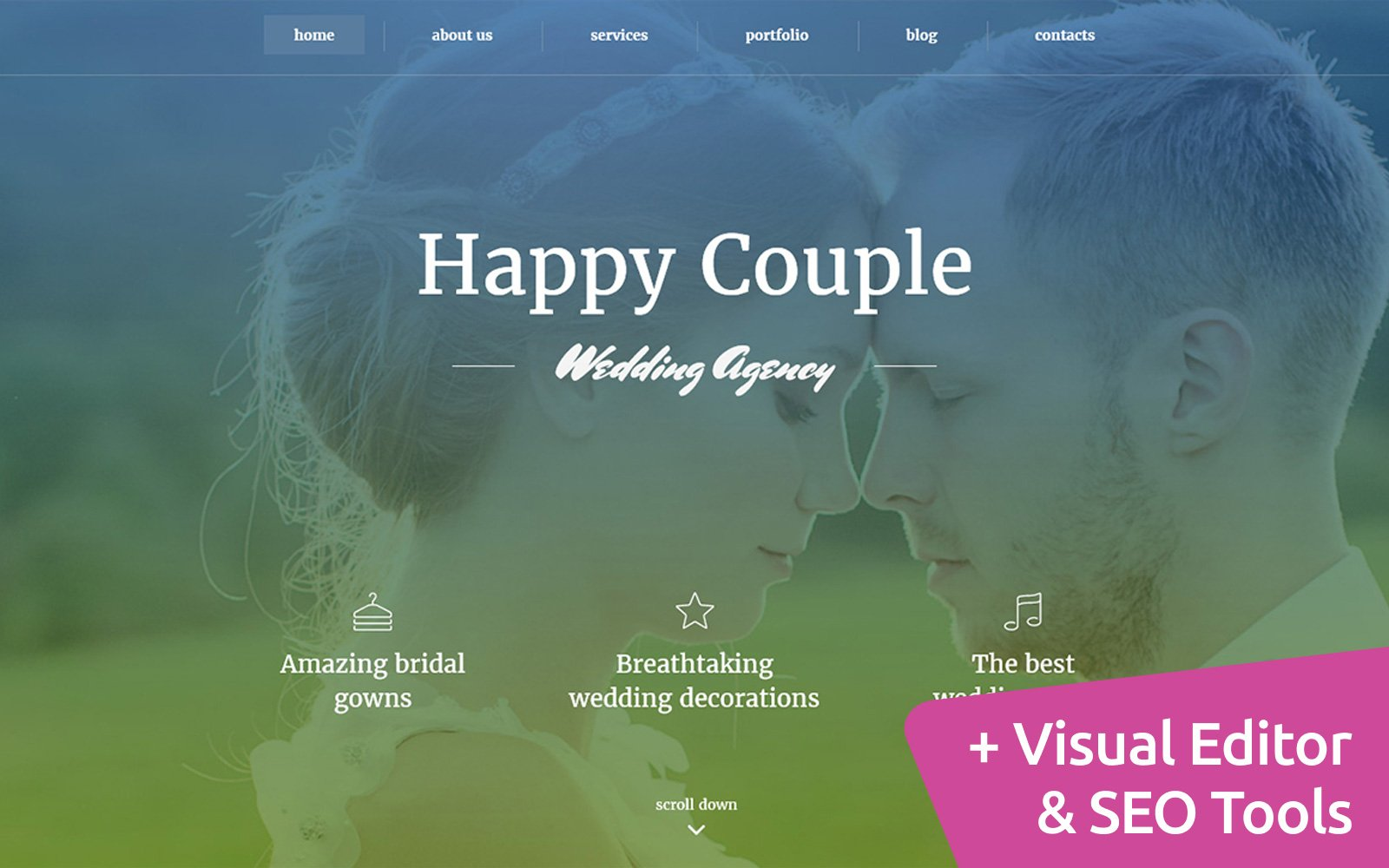 Responsivt Happy Couple - Wedding Planner Moto CMS 3-mall #59221