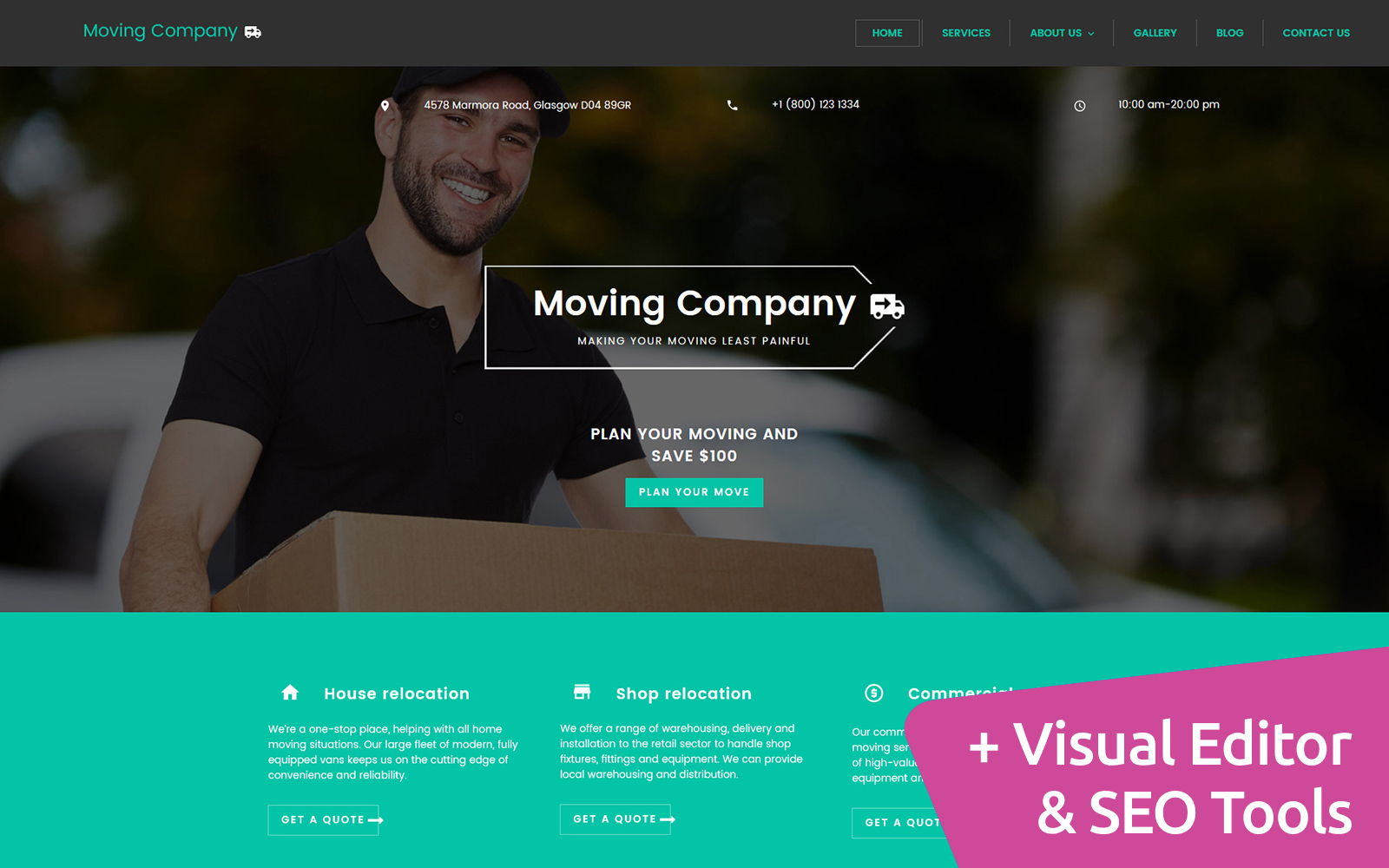 "Template Moto CMS 3 Responsive #59269 ""Moving Company"""