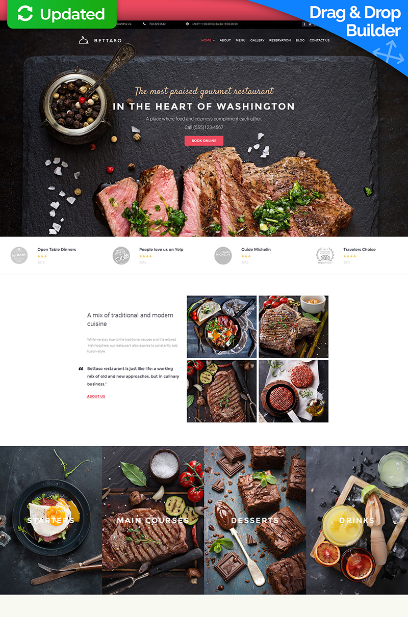 Templates Moto CMS 3 Flexível para Sites de Restaurante Europeu №59219