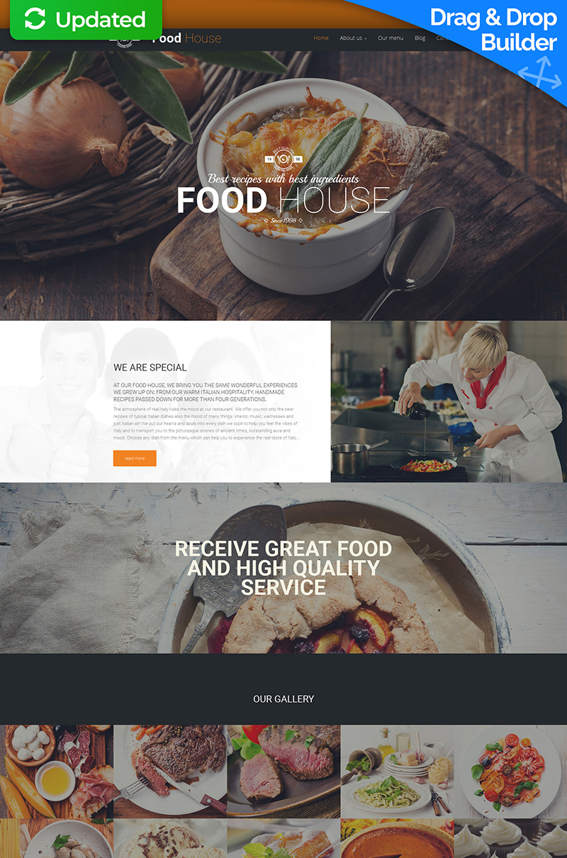 Templates Moto CMS 3 Flexível para Sites de Restaurante Italiano №59267