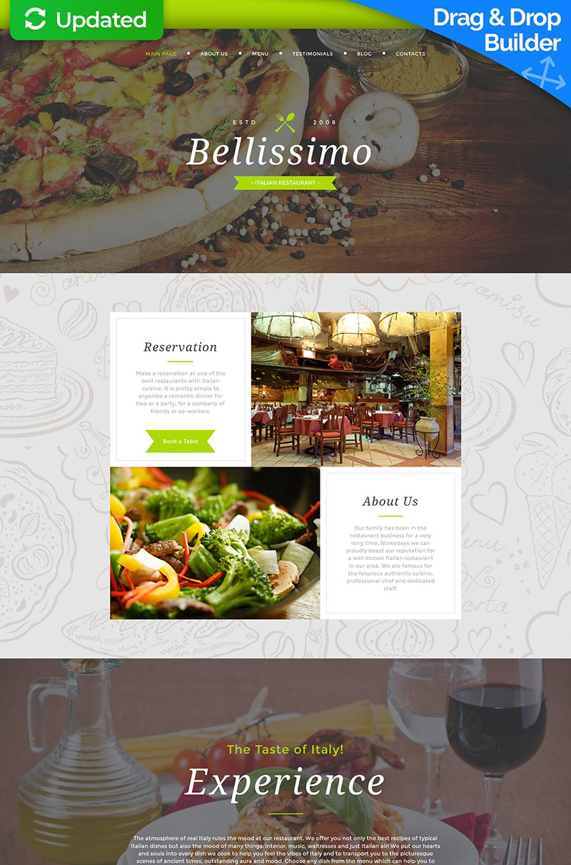 Templates Moto CMS 3 Flexível para Sites de Restaurante Italiano №59275 - captura de tela
