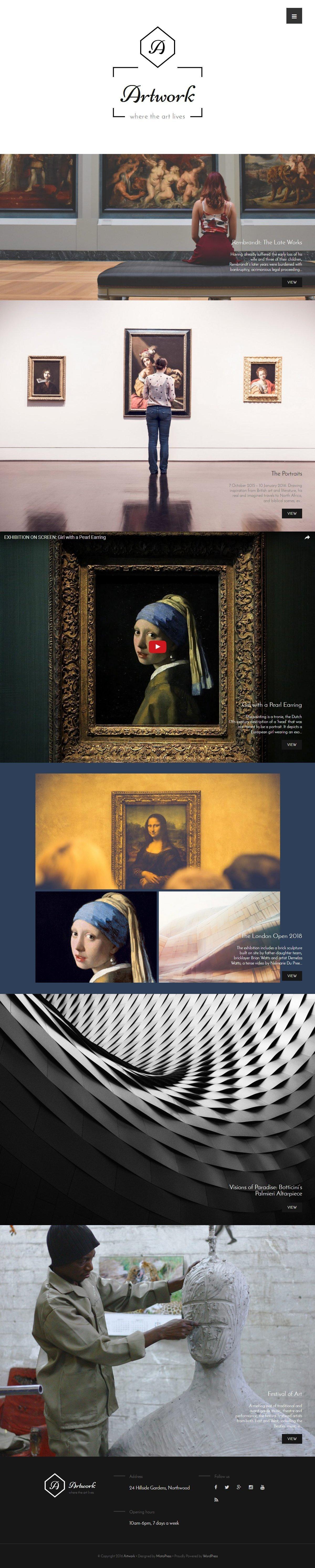 Шаблон сайта на тему художественная галерея #59200
