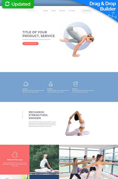 Yogarbox - конструктор лендинга MotoCMS 3 йога-центра #59246