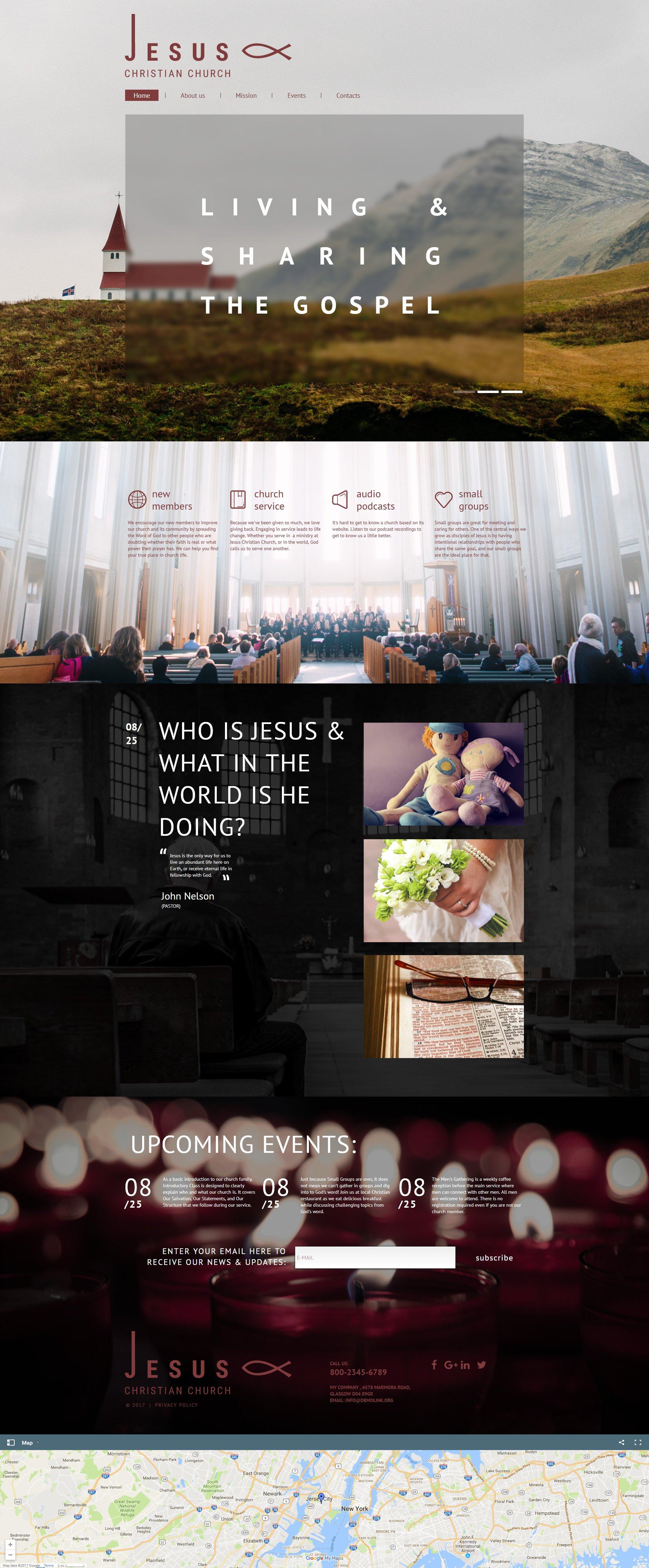 """Jesus - Christian Church"" modèle Moto CMS HTML Premium #59306"