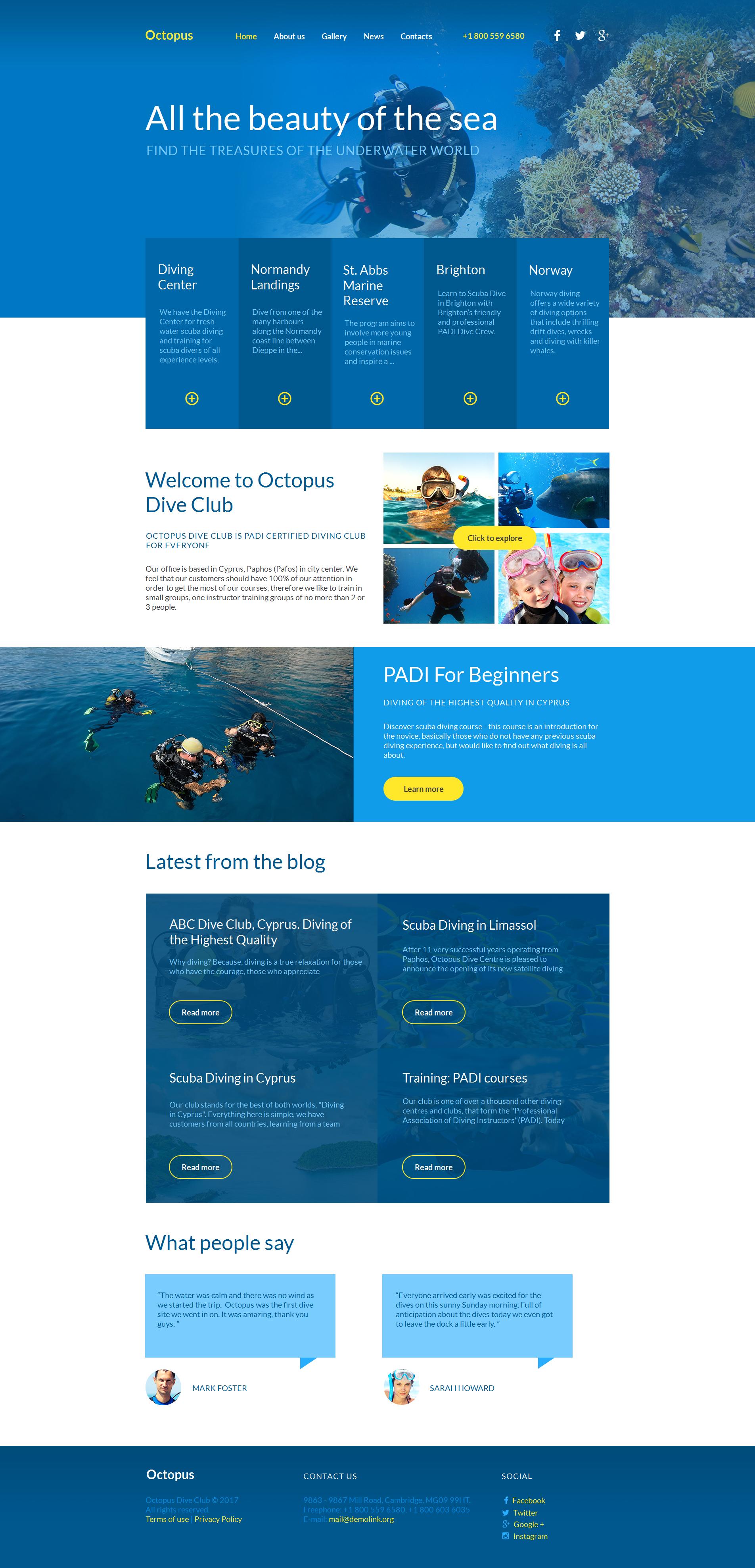 Modèle Moto CMS HTML Premium pour site de plongée #59303