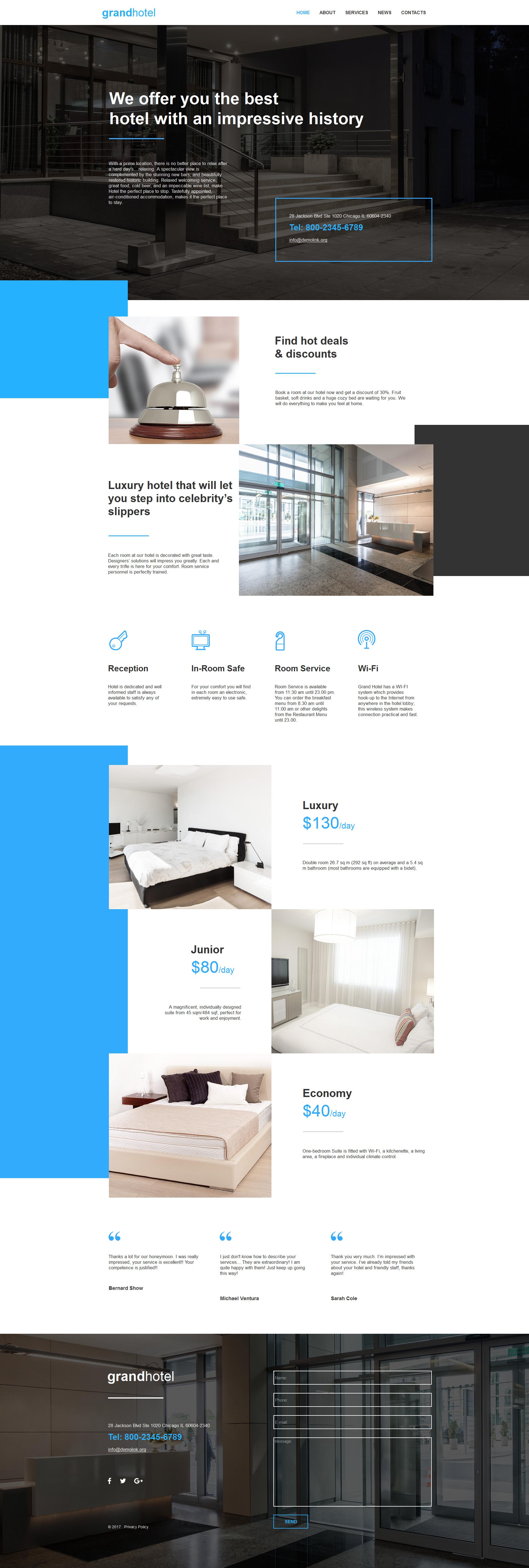 Modèle Moto CMS HTML Premium pour site d'hôtel #59302