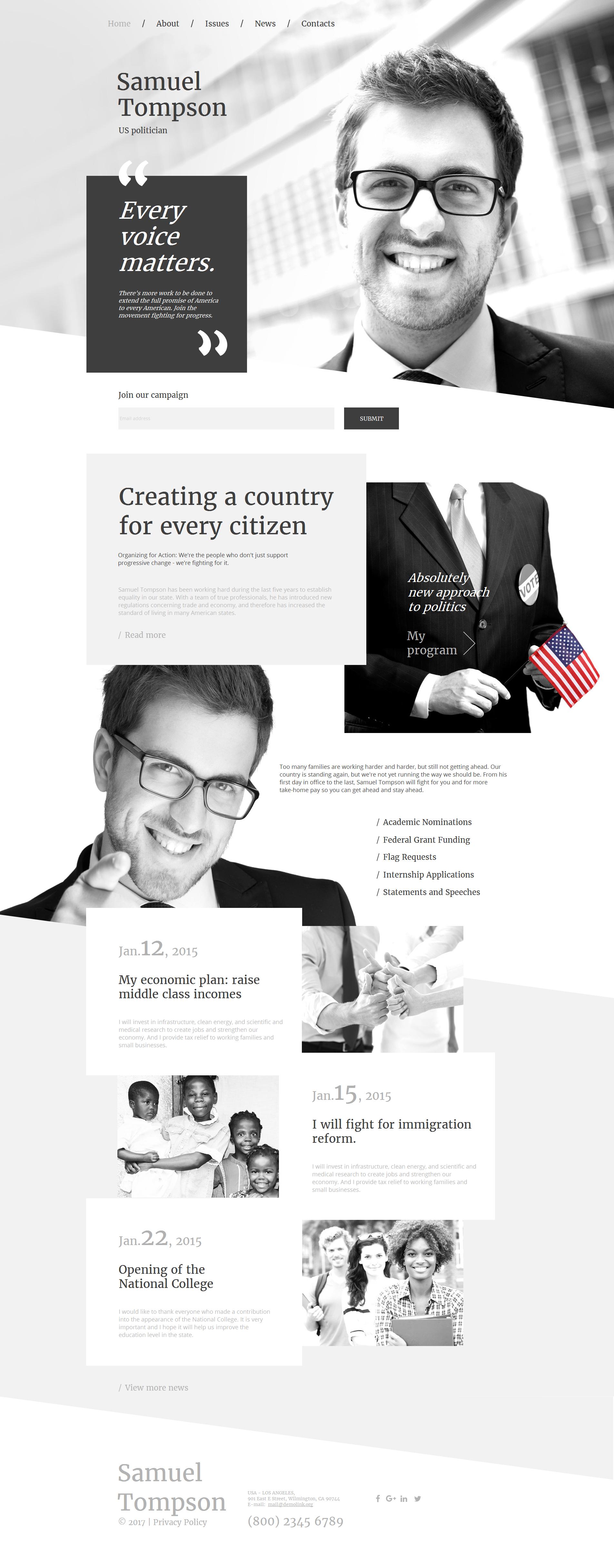 Tema Moto CMS HTML #59301 per Un Sito di Candidato Politico