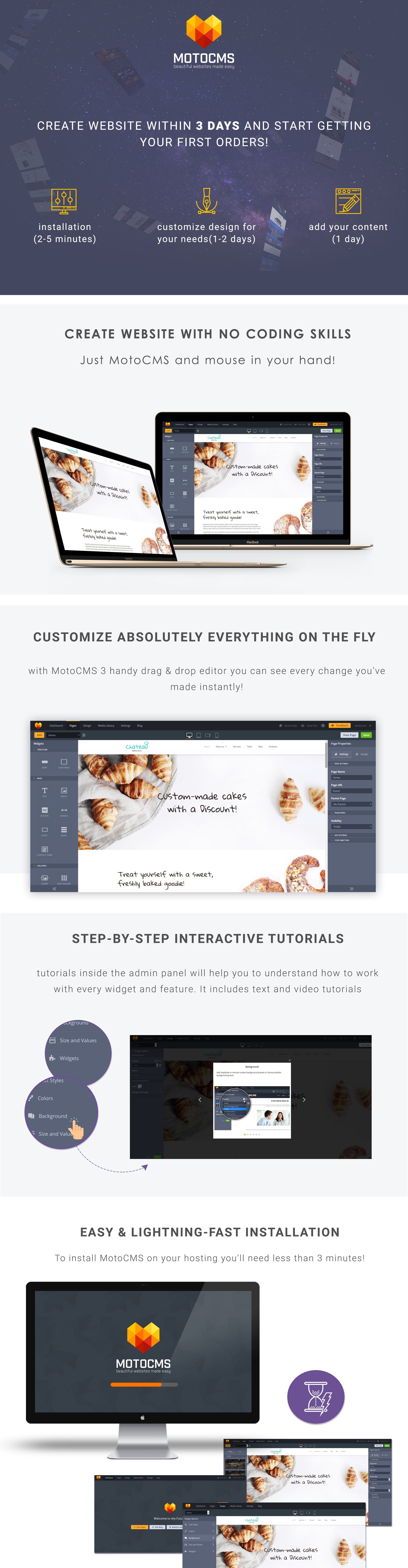 Bakery Responsive Moto CMS 3 Template