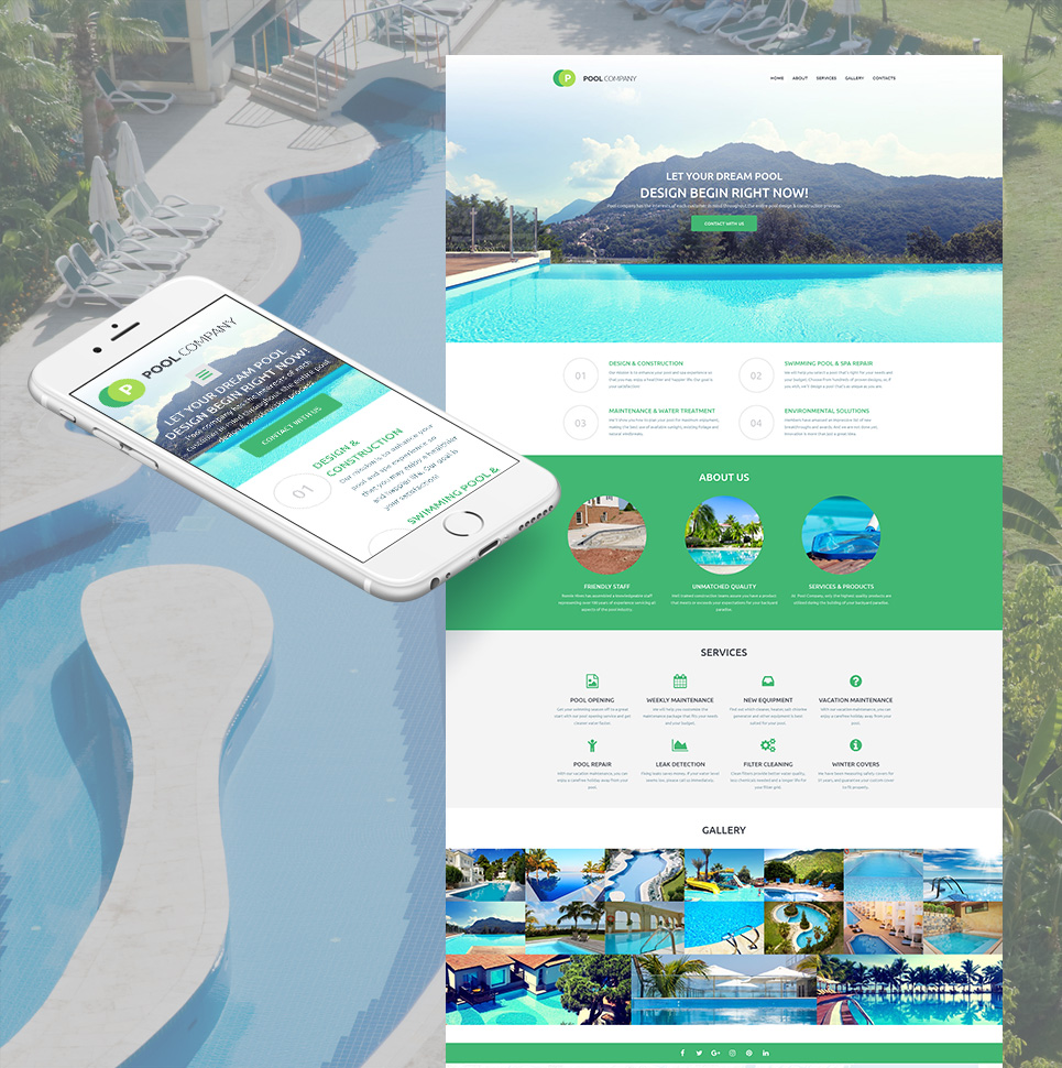VIP Pool Company Responsive Website Template - image