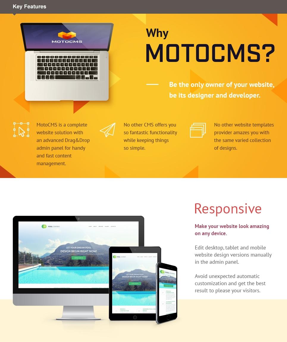 Swimming Pool Responsive Moto CMS 3 Template