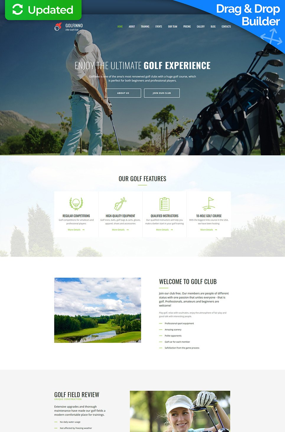 Golf Club Premium Moto CMS 3 Template - image