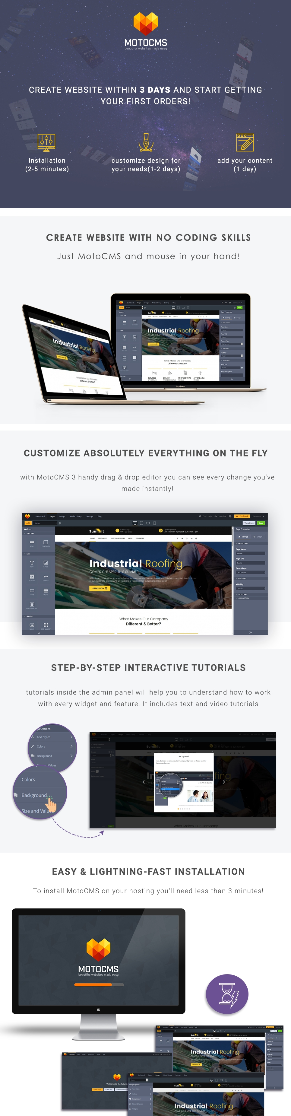 Summit Roofex  Responsive Moto CMS 3 Template