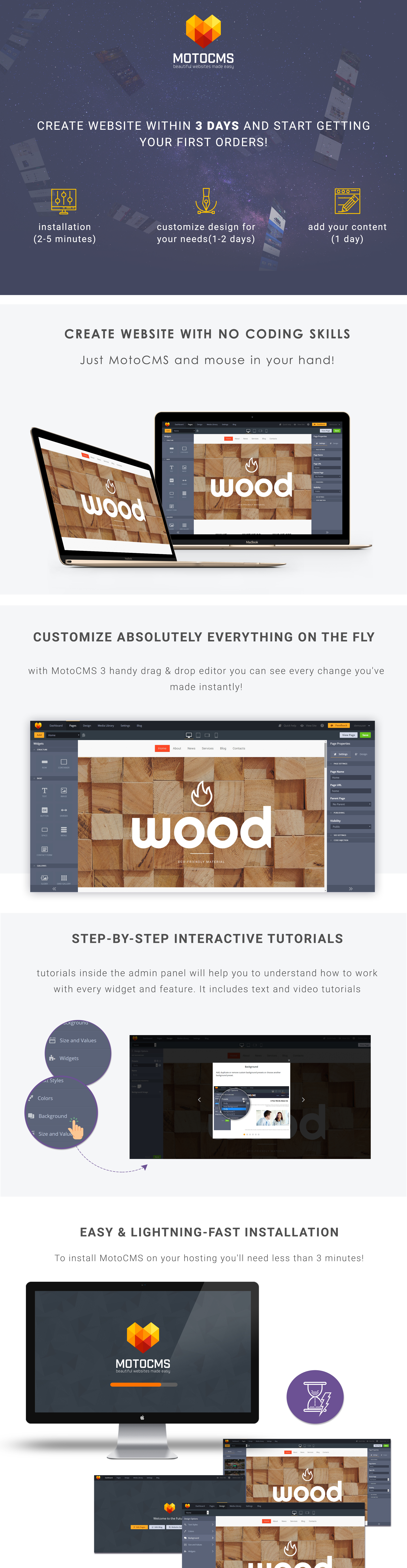 Wood Finishes  Responsive Moto CMS 3 Template