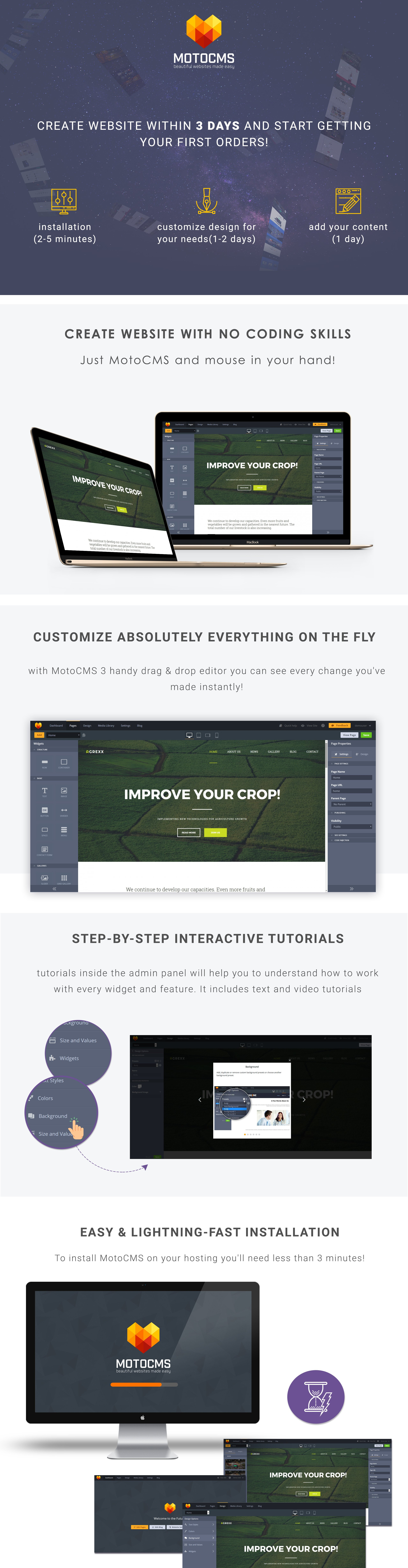 Agrexx Agriculture  Responsive Moto CMS 3 Template