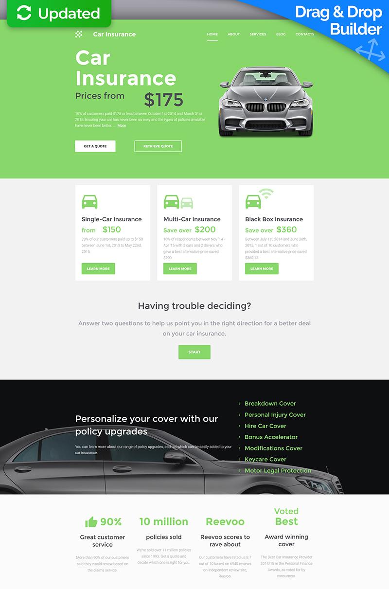 Адаптивний MotoCMS 3 шаблон на тему автострахування №59414 - скріншот