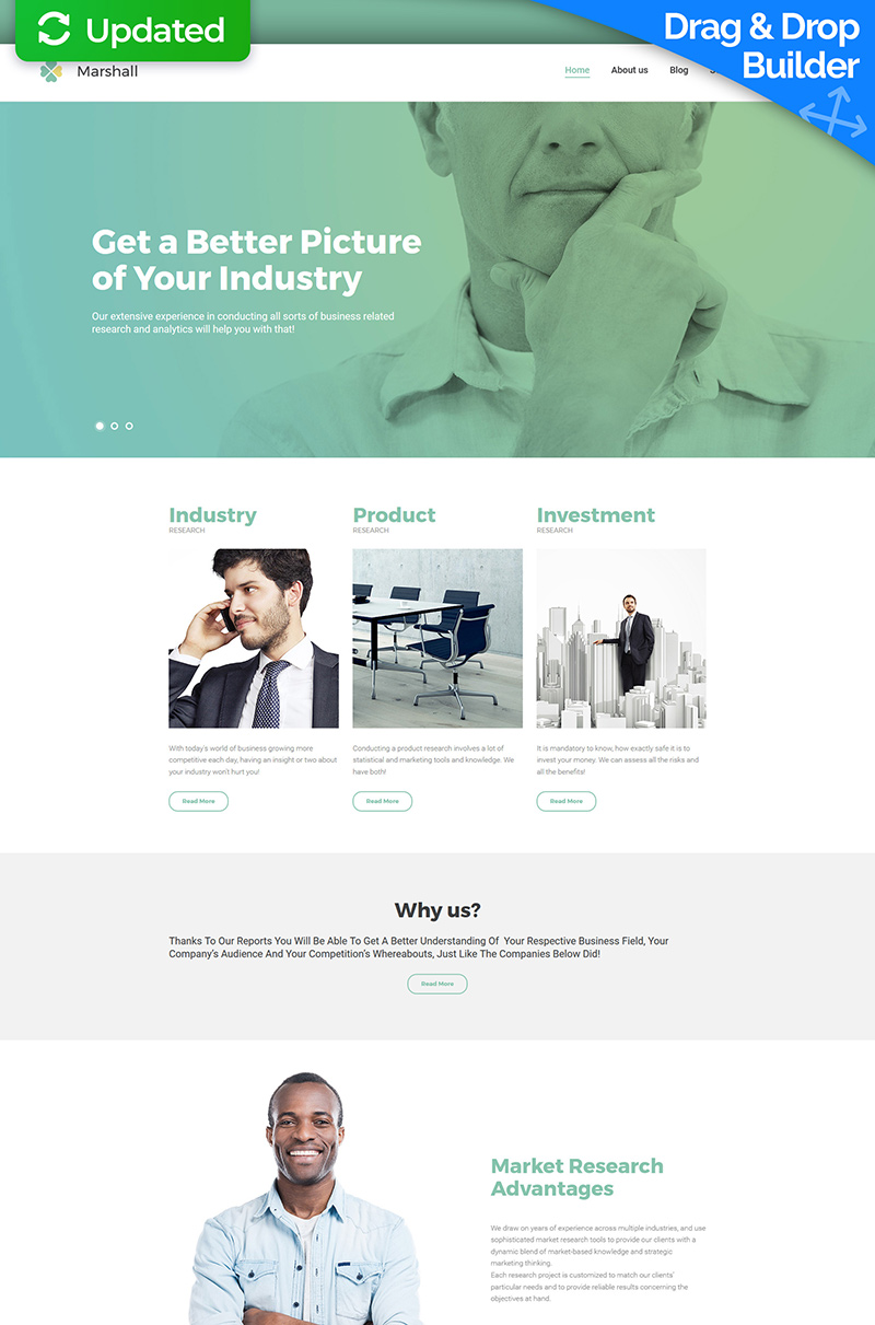"""""""Business Analysis and Market Research Agency"""" Responsive Moto CMS 3 Template №59482"""