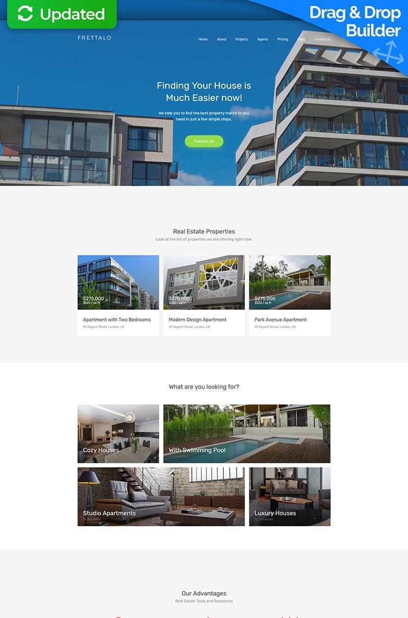 """Frettalo - Real Estate Premium"" Responsive Moto CMS 3 Template №59459"