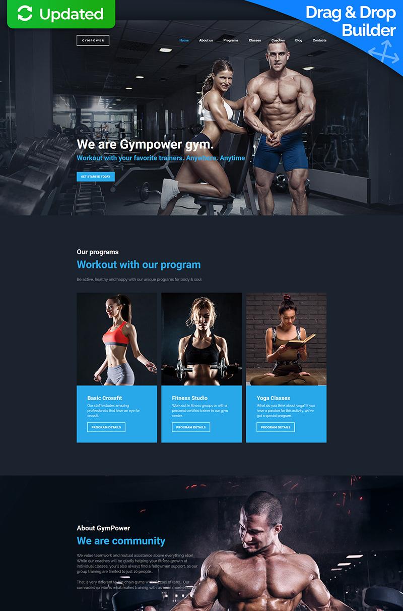 """GymPower - Fitness & Bodybuilding Premium"" 响应式Moto CMS 3 模板 #59455"