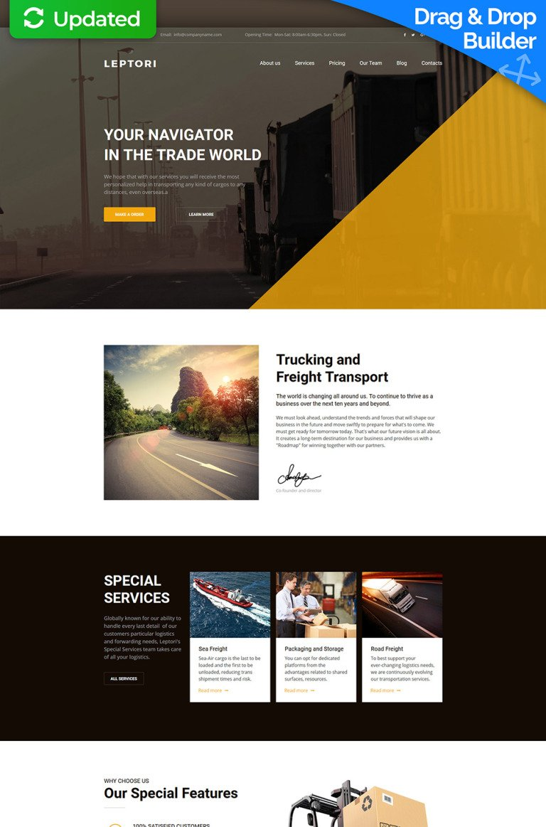 Leptori - Logistics and Transportation Service Premium Moto CMS 3 Template New Screenshots BIG