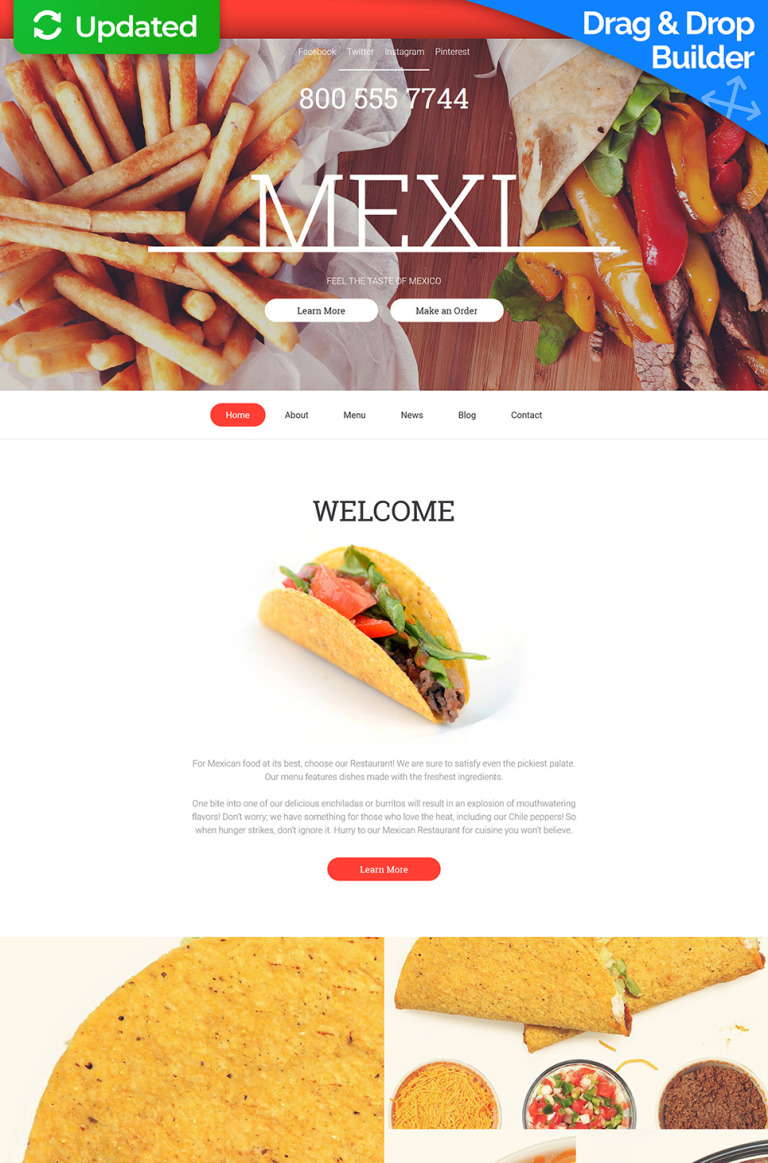 Mexican Restaurant Responsive Moto CMS 3 Template New Screenshots BIG