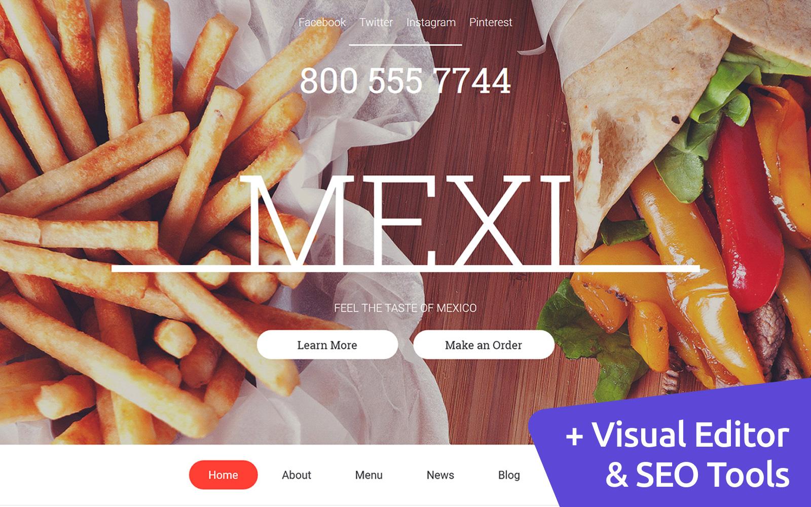 """Mexican Restaurant"" 响应式Moto CMS 3 模板 #59423"