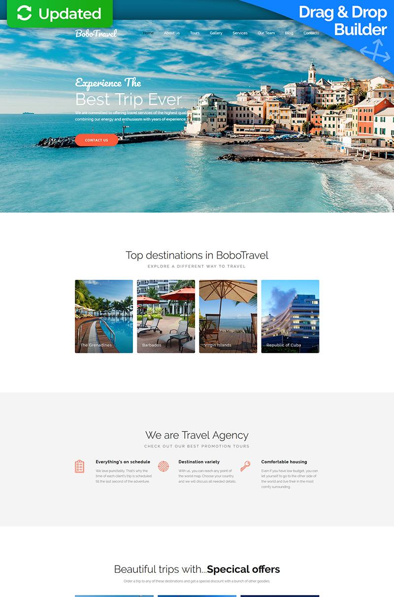 "Moto CMS 3 Template namens ""BoboTravel - Travel Premium"" #59461"