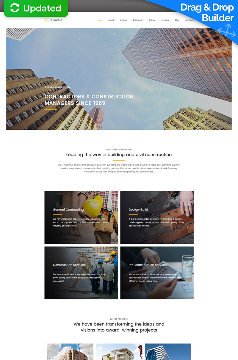 "Moto CMS 3 Template namens ""Createso - Civil Engineering Premium"" #59451"