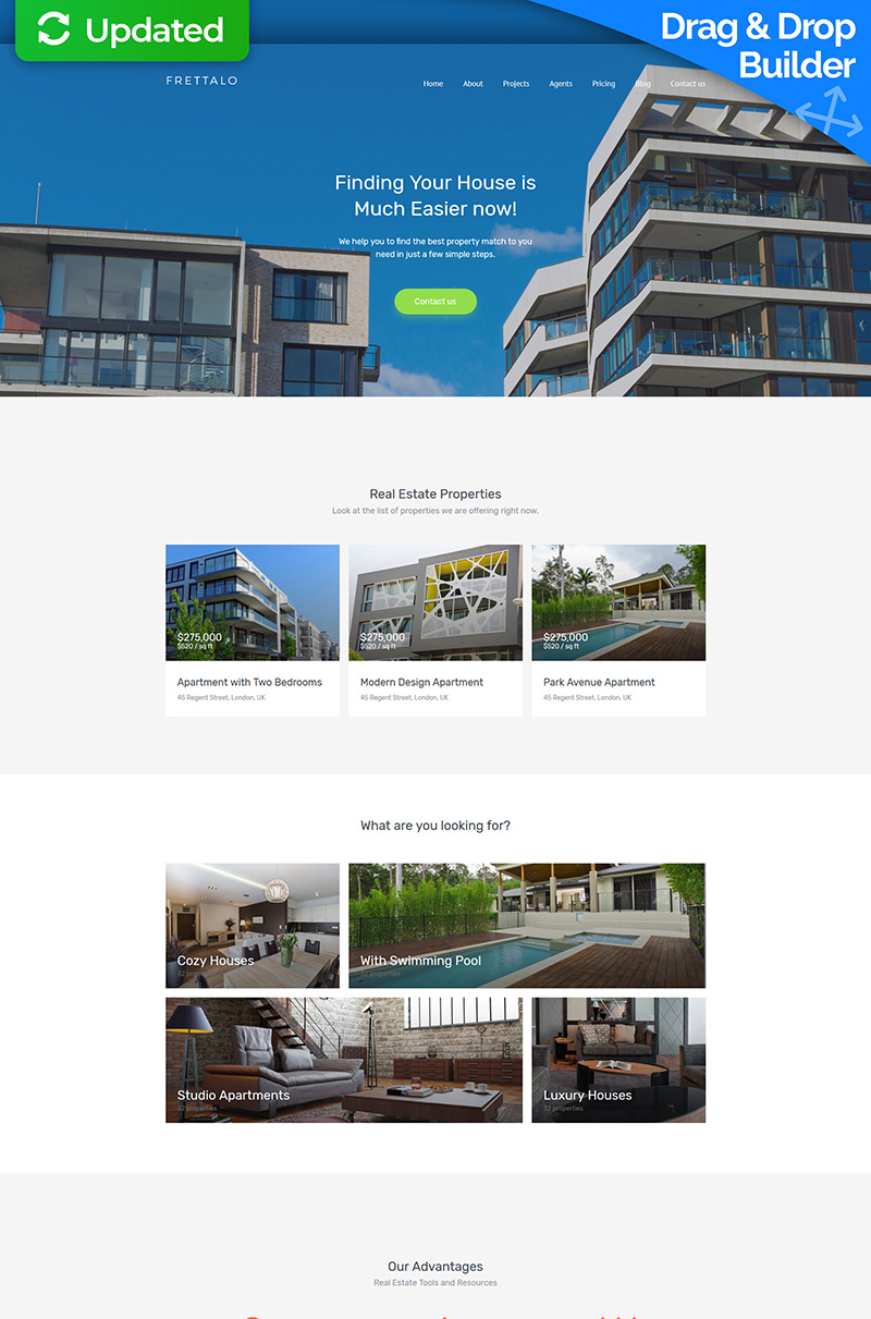 "Moto CMS 3 Template namens ""Frettalo - Real Estate Premium"" #59459"