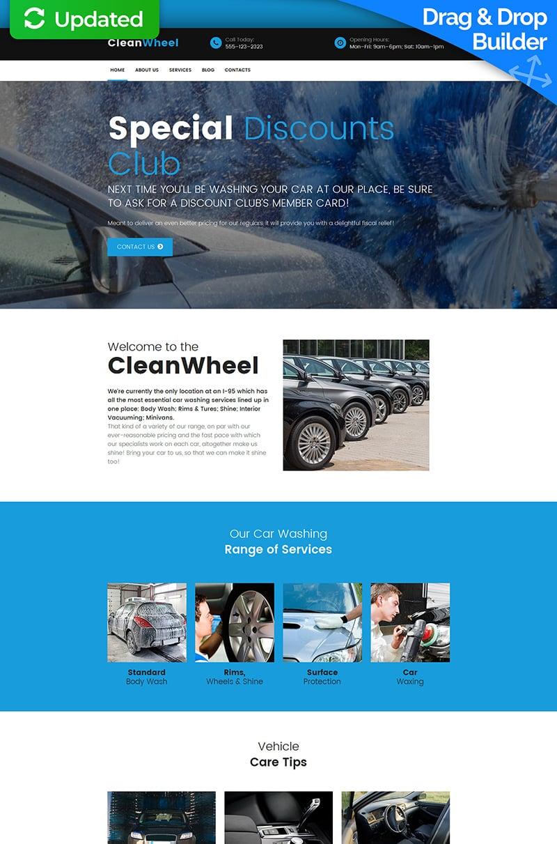 Plantilla Moto CMS 3 Responsive para Sitio de Lavado de autos #59483