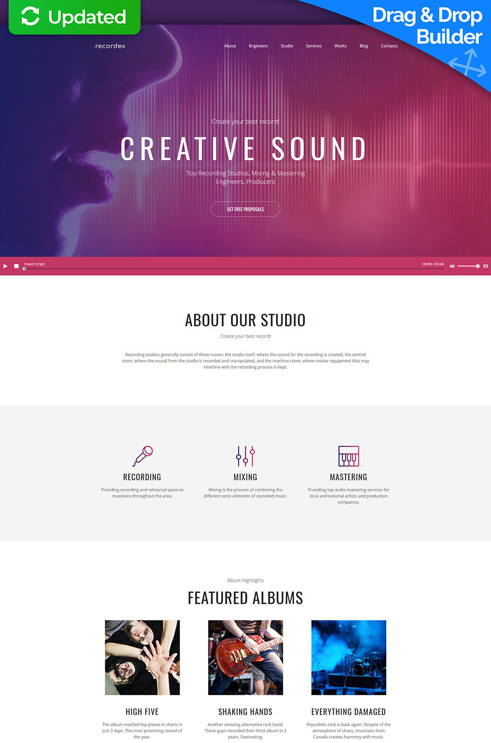 Recording Studio Premium Moto CMS 3 Template New Screenshots BIG
