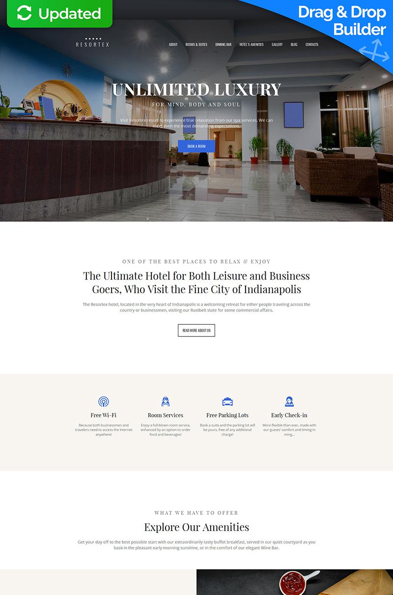 """Resortex - Hotels Premium"" 响应式Moto CMS 3 模板 #59458"