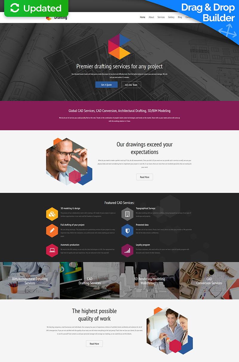 Responsive Moto CMS 3 Template over Drafting №59432