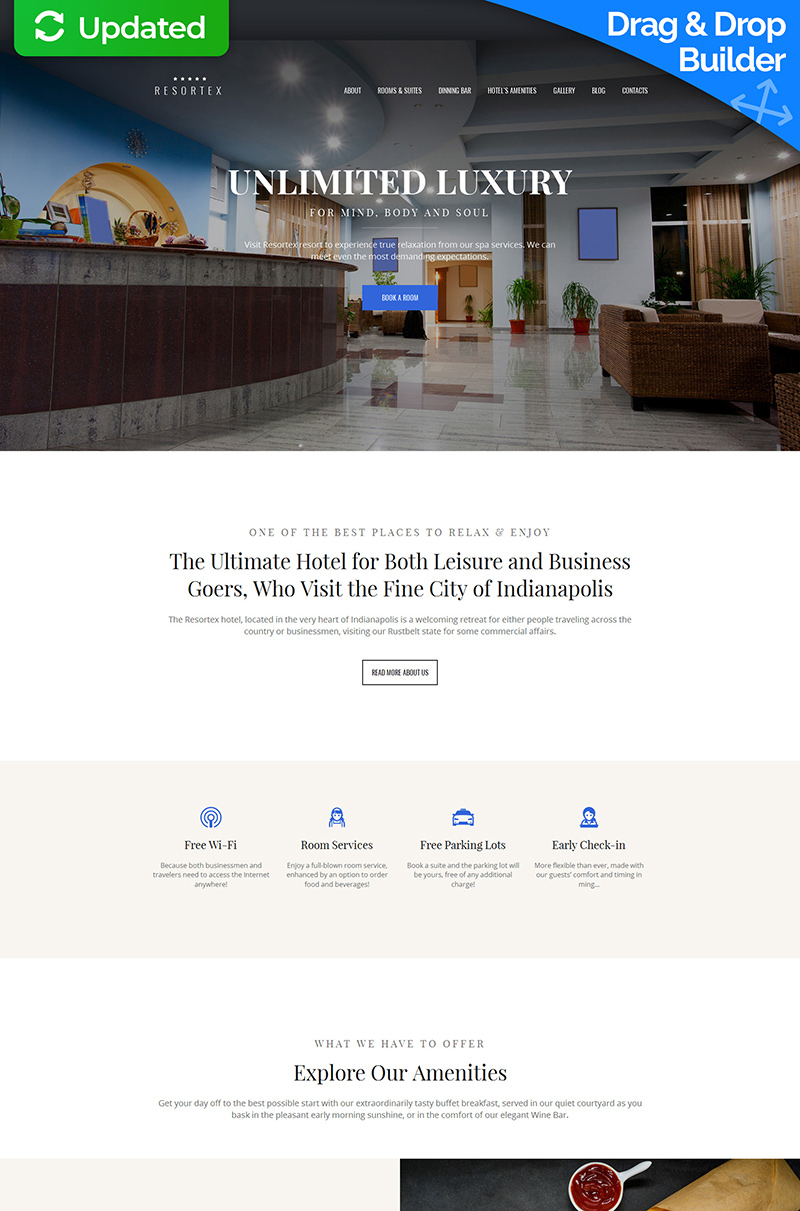 Responsive Resortex - Hotels Premium Moto Cms 3 #59458